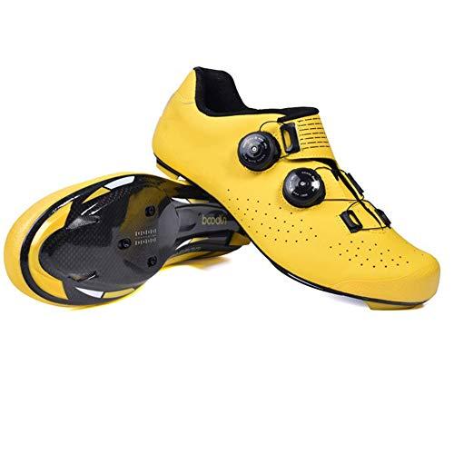 GUARDUU Zapatillas Ciclismo Hombre Fibra De Carbono Zapatillas Ciclismo Carretera MBT Antideslizantes Transpirables Specialized con Sistema De Bloqueo Rápido para Hombre,A,40(US:7.5)