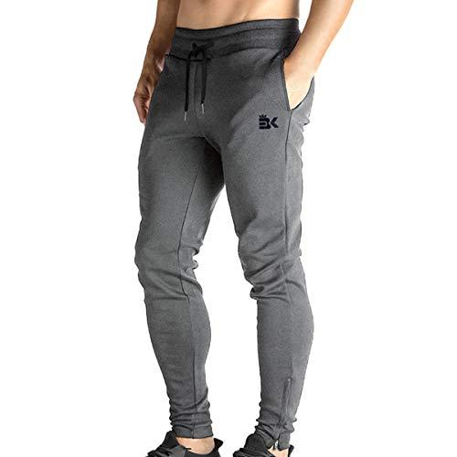 Calça de corrida masculina com zíper da Brokig – Calça de treino casual para academia, calça de moletom com bolsos, Dark Grey, Large
