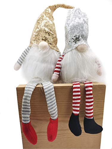 Pack 2 Muñeca Larga de Navidad Sentado Figura Papá Noel sin Cara Colgante de Gnomo Elfo de Piernas largas de Peluche Adorno de Decoración de Mesa Repisa (53)