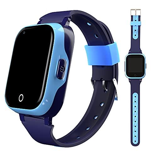 Smartwatch para niños 4G con localizador GPS + WiFi + Lbs, Reloj Inteligente con Videollamada, Camara y Llamadas Simples integrada (Azul)
