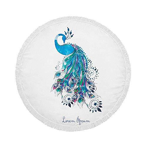 Manta de Toalla de Playa Redonda, gráfico de Pavo Real Azul, Esterilla de Yoga Circular Grande de Gran tamaño de 59 Inch con borlas de Flecos