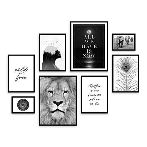 ARTFAVES® Poster Set - Wildlife   Wanddeko Wohnzimmer & Schlafzimmer   8 Moderne Wandbilder   Bilder Löwe, Wildnis, Afrika, schwarz Weiss, Elefant, Savanne   ohne Bilderrahmen