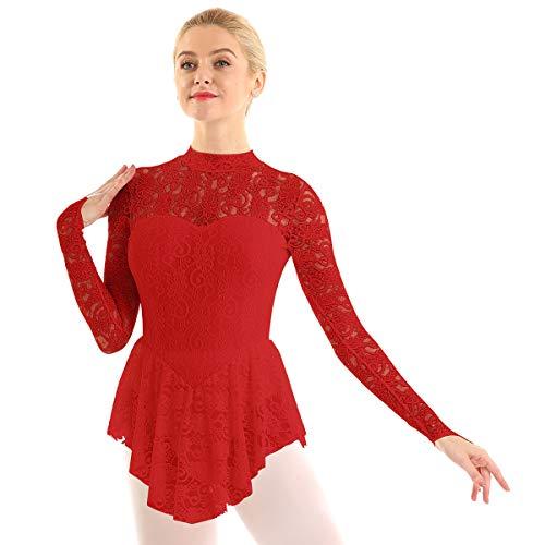 ranrann Vestido de Patinaje Artístico Encaje para Mujer Manga Larga Maillot de Ballet Gimnasia Rítmica con Falda Disfraz de Bailarina Leotardo Body de Danza Rojo X-Small