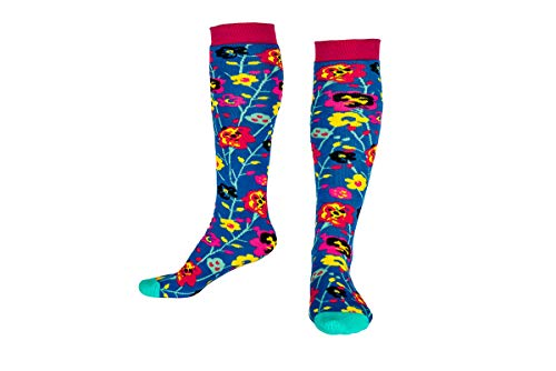Squelch Grown Ups Socks - 3 in 1 - Hike, Ski & Welly Sock, Thermal Comfy & Soft (Abstract Flower)