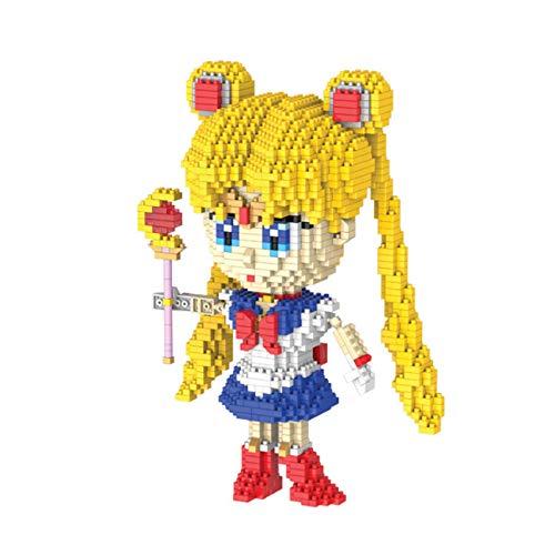 LHANZ Juego de Bloques de construcción Sailor Moon Tsukino Usagi, pequeñas partículas, colección de Juguetes de Tendencia, Accesorios, Adornos de 20 cm