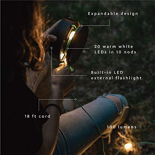 MPOWERD Luci Solar String Lights + Phone Charger with 100 Lumens | Lasts for Up to 20 Hours | No Batteries Needed | Quick-Charge with USB | 18 ft Cord | Waterproof