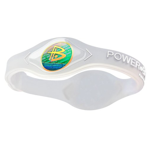 Power Balance Silicone Wristband - Genuine (Clear w/White Lettering, M)