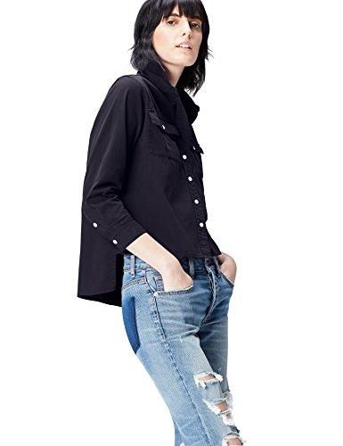 Amazon-Marke: find. Hemd Damen mit verkürzter Front und Kent-Kragen, Blau (Navy), 36, Label: S