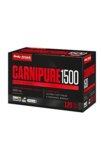Body Attack Carnipure 1500, patentiertes, reines & hochdosiertes L-Carnitin, 120...