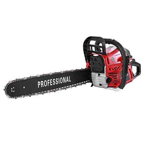Holarose 62CC Gas Chainsaw 20' 2 Stroke Double Spring Automatic Chain Oiler Great Handbar Chainsaw (Orange&Black) (red&Black)