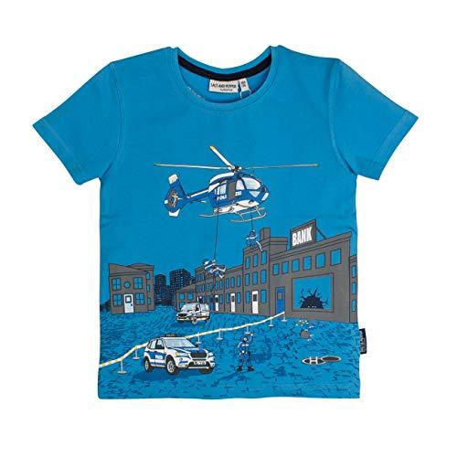 SALT AND PEPPER Jungen Polizei Druck Hubschrauber T-Shirt, Blau (River Blue 451), 128 (Herstellergröße: 128/134)