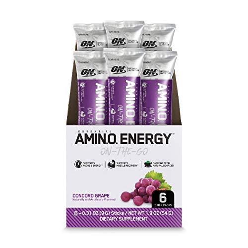 Optimum Nutrition Amino Energy - Pre Workout with Green Tea, BCAA, Amino Acids, Keto Friendly, Green Coffee Extract, Energy Powder - Concord Grape, 6 Count