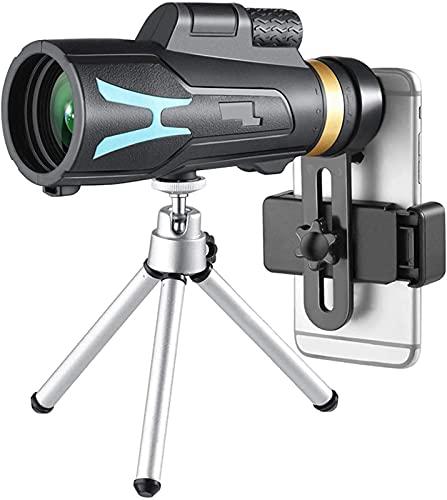 XUELIAN Telescopio 18X62 Monocular de Alta Potencia para Adultos Que observan Aves con Soporte para teléfono Inteligente y trípode BAK4 Prisma para Viajes de Campamento de Vida Silvestre