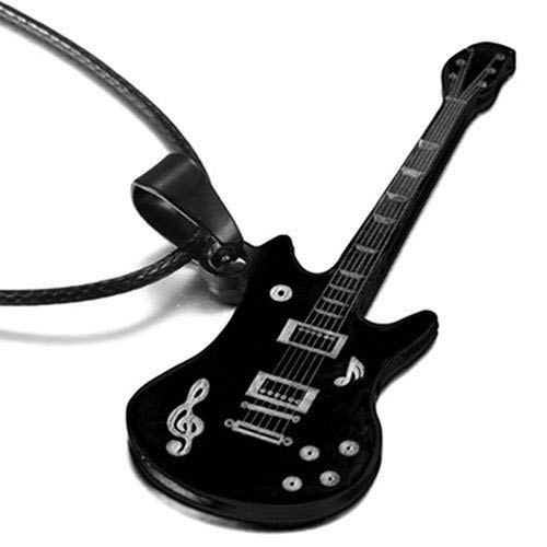Vektenxi Coole Männer Edelstahl Gitarre Form Musiknote Anhänger Halskette Schmuck Langlebig und Nützlich