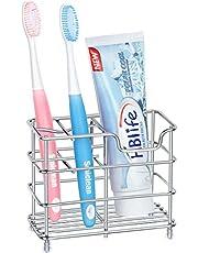AMERTEER Premium Bathroom Toothbrush Holder 5 Slots Stainless Steel Bathroom Toothbrush Organizer - Multi-Function StandStorage Rack for Electric Toothbrush, Toothbrush, Toothpaste, Vanity,Countertops