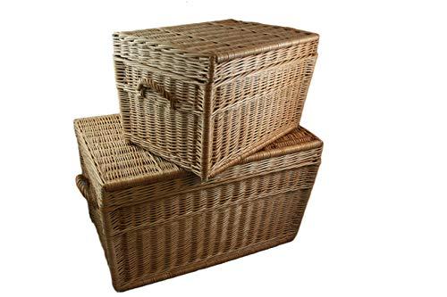 weeco Juego de 2 cestas de mimbre de 80 cm y 60 cm, con tapa