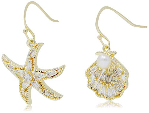 La Raffine Sea star/Starfish and Shell Shape with Natural Freshwater Pearl and Zircon, 14K Gold Plating Dangle Earrings for Women Girl Gifts Valentines/Birthday/Anniversary/Mothers Day