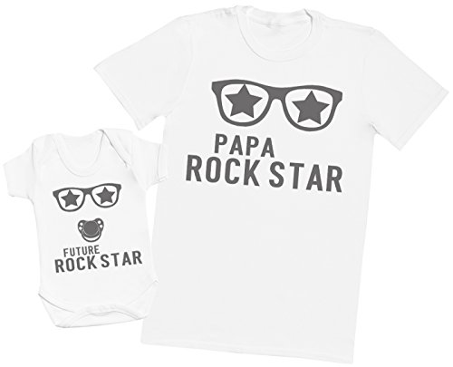 Future Rock Star garçon - Ensemble Père Bébé Cadeau - Hommes T-Shirt & Body bébé - Blanc - L & 0-3 Mois