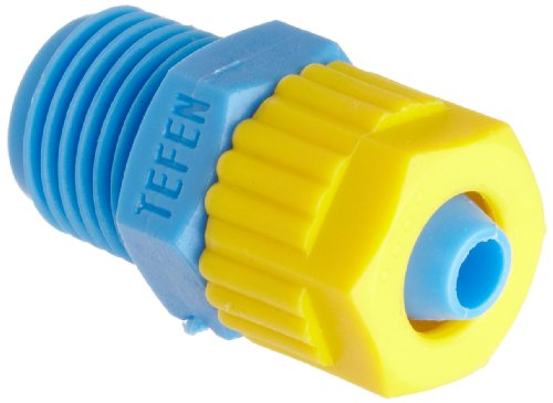 Tefen Fiberglass Polypropylene Compression Tube Fitting, Adapter, Yellow/Blue, 5/16