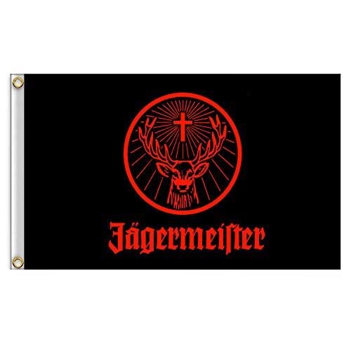 Hemore Jägermeister-Flagge, riesig, schwarz, wehende Flagge, Banner, Größe 90 x 150 cm, 1 Stück