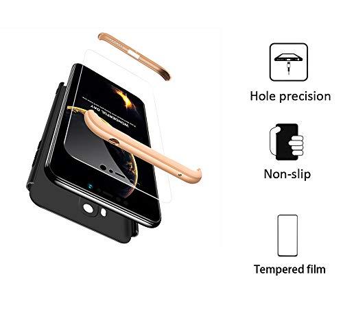 FMPC Cover per Xiaomi Pocophone F1, Custodia in PC Rigida con 3D Vetro Temperato Struttura[3 in 1] Bumper Finitura Opaca Corpo Intero Ultra Slim Case Antiurto AntiGraffio–Oro Nero