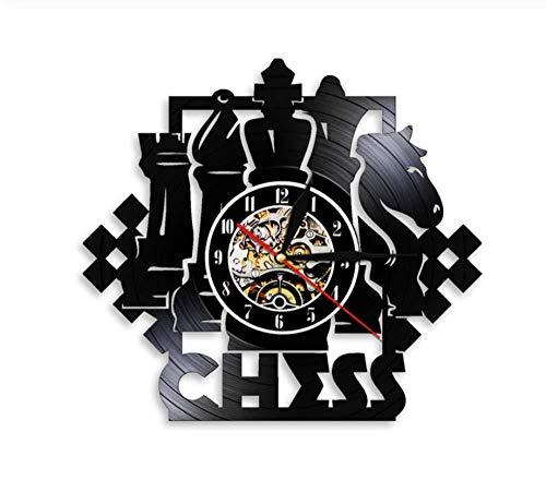 hutianyu Schaken Game Wandklok Schaakbord Zwarte Stukken Strategie Speler Club Schaken Master Vinyl Record Klok Schaken Liefhebbers