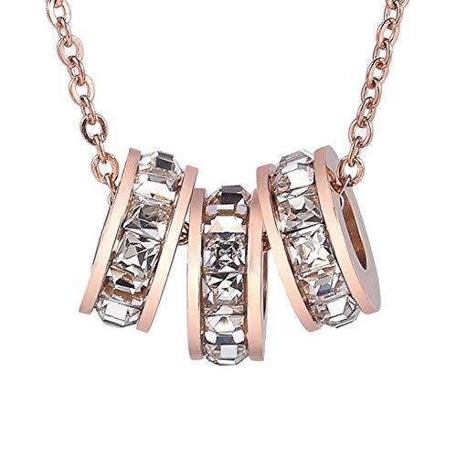 HAPKQZY Halskette Titanstahl Plattiert 18 Karat Roségold Halskette Mädchen DREI Ringe Kleine Taille Eingelegt Hao Shi Roman Ziffer Halskette, Exquisite Box Chain