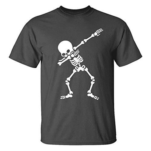 Auifor De nieuwe zomer van de mannen casual schedelprint-elastisch korte mouwen t-shirt overstijgt de blouse