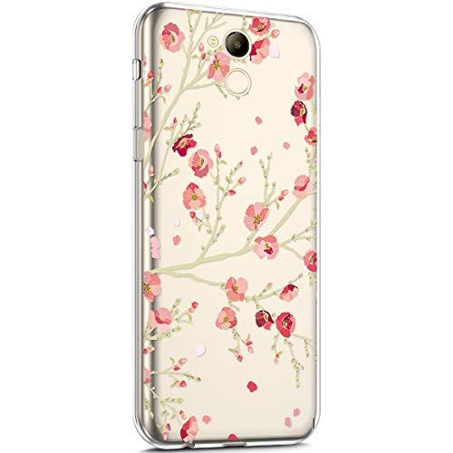 kompatibel mit Huawei Honor 6C Pro Hülle,Transparent TPU Silikon Handyhülle Schutzhülle mit Niedlich Muster Ultra Dünn Silikon TPU Bumper Rückschale Case Cover für Huawei Honor 6C Pro,Rosa Blumen