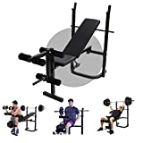 Olympic Weight Bench for Full-Body Workout, Foldable Multifunctional Bed Weight lifting Machine Fitness Equipment Home Gym (Black)
