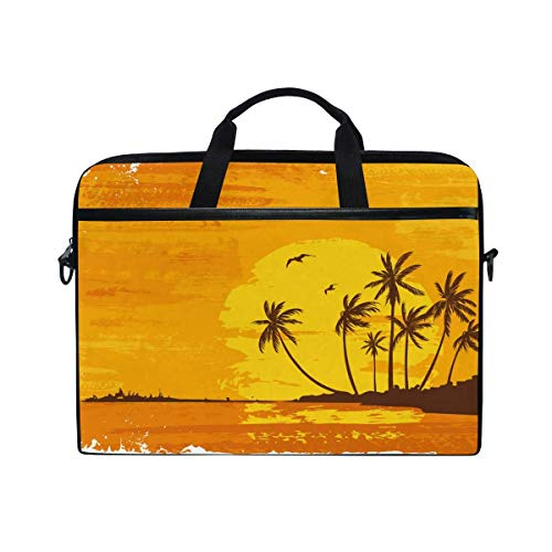 Laptop Sleeve Case,Laptop Bag,Beach Coconut Tree Sunset Water Briefcase Messenger Notebook Computer Bag with Shoulder Strap Handle,29×40 CM/15.6 Inch