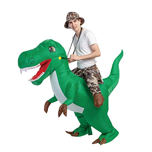 GOOSH 63 INCH Inflatable Costume for Adults, Halloween Costumes Men Women Dinosaur Rider, Blow Up Costume for Unisex Godzilla Toy