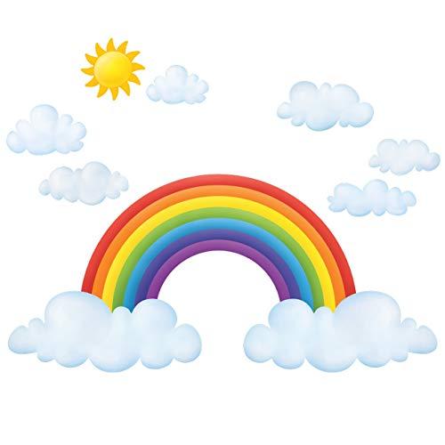 Decowall DL-1713L Wolken und Regenbogen Wandtattoo Wandsticker Wandaufkleber Wanddeko für Wohnzimmer Schlafzimmer Kinderzimmer(Groß)