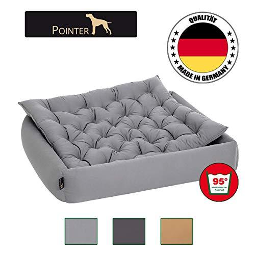 Pointer Set - Hondenbed met hondenkussen, orthopedisch, zachte rand, vormvast, krasbestendig, eenvoudig te reinigen, geschikt voor de droger - wasbaar op 95 °C - Premium kwaliteit - maat, kleur naar keuze, X-Large, lichtgrijs