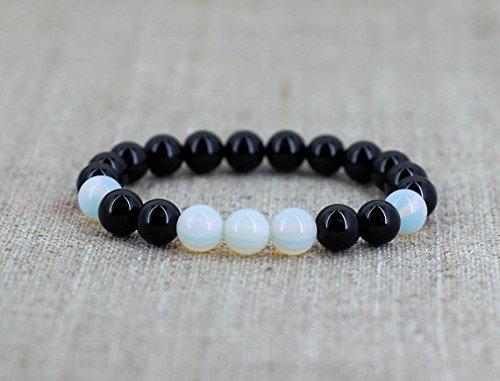 LOVEKUSH Galaxy Jewelry - Pulsera redonda de 8 mm, elástica, piedra lunar azul y ónix negro, lisa, de 7 pulgadas, para hombres, mujeres, gf, bf y adultos.