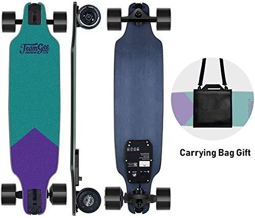 Teamgee H8 Skateboard Eléctrico - Longboard para Adultos con Control Remoto, Motor de 480 Vatios, Tres Velocidades Ajustables 16-25 km/h,...