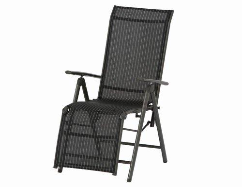 Siena Garden DELPHI Relax Stuhl für Außenbereich (Aluminium-Struktur und Stoff), silber/schwarz Número: 6 unidades