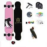 YSCYLY AnfäNger Double Kick Trick Skateboard,117cm Longboard Skateboard,FüR AnfäNger Kinder Jugendliche Und Erwachsene