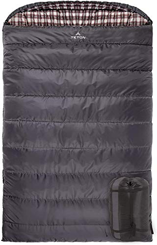 TETON Sports Fahrenheit Mammoth +20F -7C Queen-Size Double Sleeping Bag; Warm and Comfortable; Double Sleeping Bag Great for Family Camping; Compression Sack Included, Grey (1064), +20F  94  X 62   Grey