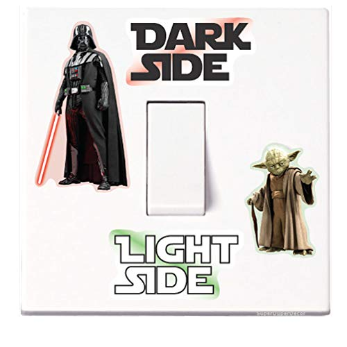 SuperDuperDecor Star Wars Light Switch Stickers. Black, Colour, or Glow-in-the-Dark. decal child room lightswitch wall vinyl dark side darth vader yoda COLOUR