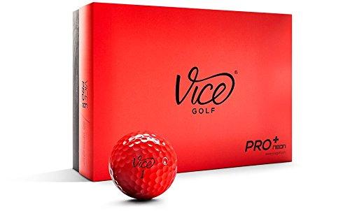 Vice Pro Plus Golf Balls, Red (One Dozen)