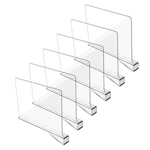 Hmdivor Clear Acrylic Shelf Dividers, Closets Shelf and Closet Separator for for Organization in Bedroom, Kitchen and Office Shelves (6 Pack)