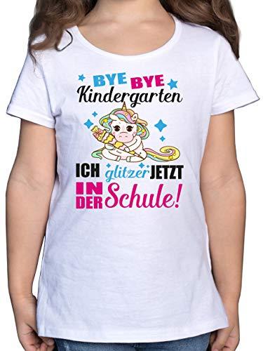 Einschulung und Schulanfang - Ich Glitzer jetzt in der Schule Einhorn mit Schultüte - Fuchsia - 128 (7/8 Jahre) - Weiß - zur Einschulung für mädchen - F131K - Mädchen Kinder T-Shirt