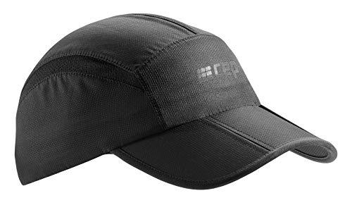 CEP – Running Cap | Atmungsaktive Faltbare Kappe mit Sonnenschutz und gebogenem Schirm in schwarz in Unisex in one Size