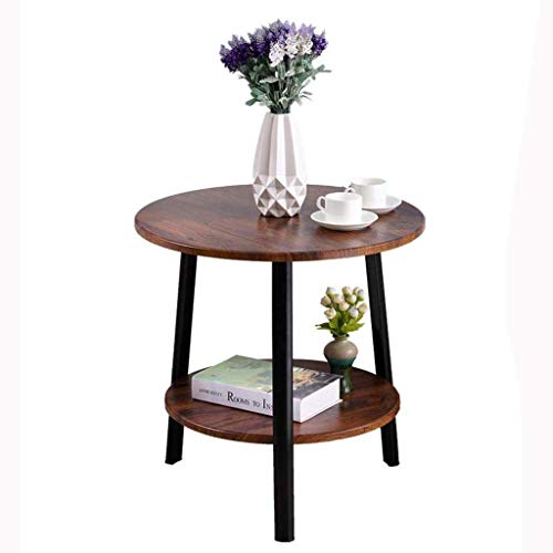 Coffee Table Side Tables Round Wooden End Table Storage Shelves with 2 Tiers Bedside Table for Living Room Bedroom Kitchen Any Room