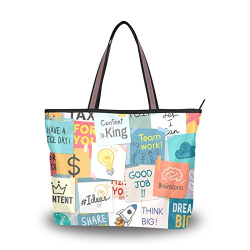 Shoulder Bags for Women Girls Ladies Student Light Weight Strap Handbags Purse Shopping Tag Pattern Tote Bag