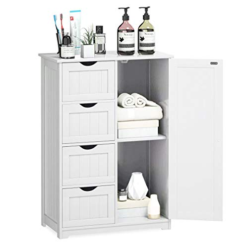 YMLHOME Bathroom Floor Cabinet White Wooden Free Standing Storage Organizer Cabinet with 4 Drawers and 1 Door for Bathroom Entryway Living Room Bedroom