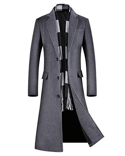 svacuam Men's Hooded Parka Coat Warm Winter Quilted Lined Outwear Jacket Overcoat(Black,M)