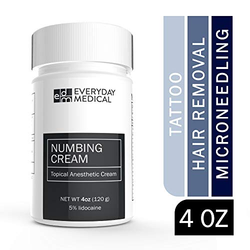 Everyday Medical Numbing Cream - 5% Lidocaine Topical Anesthetic Gel - Numbing for Tattoos, Piercing, Waxing, Microneedling, Microblading, Injections, Hemorrhoids and Anorectal Discomfort Relief