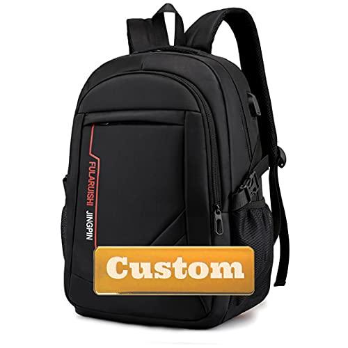 Bolso de Mujer de Bolso Personalizado Laptop 15.6 Monedero de Hombres con Cargador USB Viajes de Mochila (Color : Black, Size : One Size)